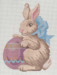 LL193BLabors Of Love Bunny with Egg on Left 18 Mesh 5.25x6.25