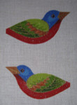 """LL300I Labors Of Love Painted Bunting Blue Headed Clip on 18 Mesh 5"""" x 2.75"""""""
