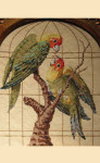 """LL311B Labors Of Love Parrots in Golden Cage 18 Mesh  8"""" x 10"""""""