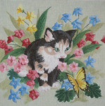 """LL411 Labors Of Love Kitten with Butterfly 13 Mesh 14"""" x 14"""""""