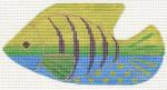 """LL510E Labors Of Love Clip On Fish """"Green-Blue w/ Purple Stripe """" 18 Mesh 5"""" x 3"""" Includes clip"""