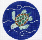 "CB-76 Sea Turtle Ornament 4"" circle 18 Mesh CHRISTINE SAUNDERS"