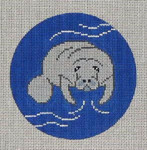"CB-30 Manatee Ornament 4"" circle 18 Mesh Danji Designs CHRISTINE SAUNDERS"