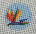 "CB-37 Bird of Paradise Ornament 4"" circle 18 Mesh Danji Designs CHRISTINE SAUNDERS"
