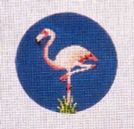 "CB-60 Flamingo Ornament 4"" circle 18 Mesh CHRISTINE SAUNDERS"