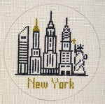"CB-69 New York Ornament 4"" circle 18 Mesh CHRISTINE SAUNDERS"