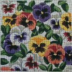 148 Danji Designs Pansies –mixed colors 14 x 14 12 Mesh