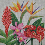 193 Danji Designs Tropical Flowers 14 x 14 12 Mesh