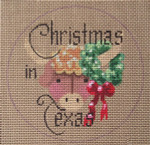 """D-103 Christmas in Texas (on brown canvas) 4"""" round 18 Mesh Designs By Dee"""