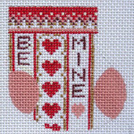 D-27A Valentine Wee Stocking 2 x 2 ½ 18 Mesh Designs By Dee