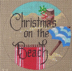 """D-95 Christmas on the Beach (on brown canvas) 4"""" round 18 Mesh Designs By Dee"""