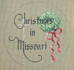 "D-118 Christmas in Missouri (Wreath) (on brown canvas) 4"" round 18 Mesh Designs By Dee"
