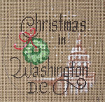 "D-128 Christmas in Washington, DC (on brown canvas) 4"" round 18 Mesh Designs By Dee"