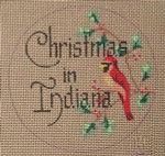 "D-133 Christmas in Indiana (on brown canvas) 4"" round 18 Mesh Designs By Dee"