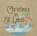 "D-114 Christmas in St. Louis (on brown canvas) 4"" round 18  Mesh Designs By Dee"