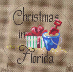 "D-100A Christmas in Florida (Present) (on brown canvas) 4"" round 18 Mesh Designs By De"