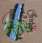 "D-143 Christmas in Minnesota (on brown canvas) 4"" round 18 Mesh Designs By Dee"