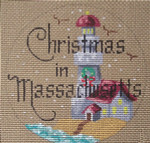 "D-124 Christmas in Massachusetts (on brown canvas) 4"" round 18 Mesh Designs By Dee"