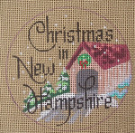 "D-134 Christmas in New Hampshire (on brown canvas) 4"" round 18 Mesh Designs By Dee"