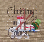 "D-97 Christmas in Colorado (on brown canvas) 4"" round 18 Mesh Designs By Dee"