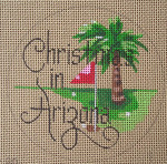 "D-101 Christmas in Arizona (on brown canvas) 4"" round 18 Mesh Designs By De"
