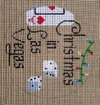 "D-144 Christmas in Las Vegas (on brown canvas) 4"" round 18 Mesh Designs By Dee"