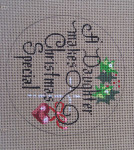 "D-157 A Daughter Makes Christmas Special (on brown canvas) 4"" round 18 Mesh Designs By Dee"