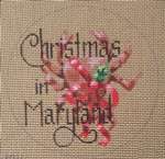 "D-130 Christmas in Maryland (on brown canvas) 4"" round 18 Mesh Designs By Dee"