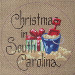 "D-125 Christmas in South Carolina (on brown canvas) 4"" round 18 Mesh Designs By Dee"