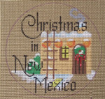 "D-135 Christmas in New Mexico (on brown canvas) 4"" round 18 Mesh Designs By Dee"