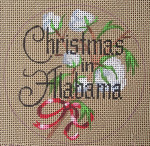 "D-102 Christmas in Alabama (on brown canvas) 4"" round 18  Mesh Designs By Dee"