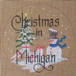 "D-121 Christmas in Michigan (on brown canvas) 4"" round 18 Mesh Designs By Dee"