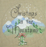 """D-98 Christmas in the Mountains (on brown canvas) 4"""" round 18 Mesh  Designs By Dee"""