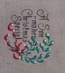 "D-158 A Son Makes Christmas Special (on brown canvas) 4"" round 18 Mesh Designs By Dee"