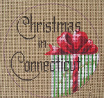 "D-131 Christmas in Connecticut (on brown canvas) 4"" round 18 Mesh Designs By Dee"