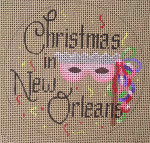 "D-136 Christmas in New Orleans (on brown canvas) 4"" round 18 Mesh Designs By Dee"