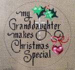 "D-179 My Granddaughter Makes Christmas Special (on brown canvas) 4"" round 18 Mesh Designs By Dee"