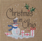 "D-122 Christmas in Ohio (on brown canvas) 4"" round 18 Mesh Designs By Dee"