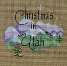 "D-148 Christmas in Utah (on brown canvas) 4"" round 18 Mesh Designs By Dee"