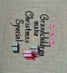 "D-168 Grandchildren Make Christmas Special (on brown canvas) 4"" round 18 Mesh Designs By Dee"