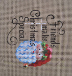 "D-163 Friends Make Christmas Special (on brown canvas) 4"" round 18 Mesh Designs By Dee"