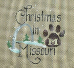 "D-117 Christmas in Missouri (Paw) (on brown canvas) 4"" round 18 Mesh Designs By Dee"