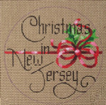 "D-132 Christmas in New Jersey (on brown canvas) 4"" round 18 Mesh Designs By Dee"
