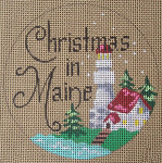 "D-127 Christmas in Maine (on brown canvas) 4"" round 18 Mesh Designs By Dee"