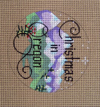 "D-149 Christmas in Oregon (on brown canvas) 4"" round 18 Mesh Designs By Dee"