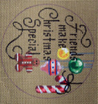 "D-180 Friends Makes Christmas Special (on brown canvas) 4"" round 18 Mesh Designs By DEE"