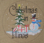 "D-137 Christmas in Illinois (on brown canvas) 4"" round 18 Mesh Designs By Dee"