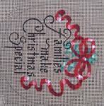 "D-164 Families Make Christmas Special (on brown canvas)  4"" round 18 Mesh Designs By Dee"