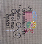 "D-169 A Granddaughter Makes Christmas Special (on brown canvas) 4"" round 18 Mesh Designs By Dee"