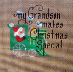 "D-185 My Grandson Makes Christmas Special (Train)(on brown canvas) 4"" round 18 Mesh Designs By Dee"